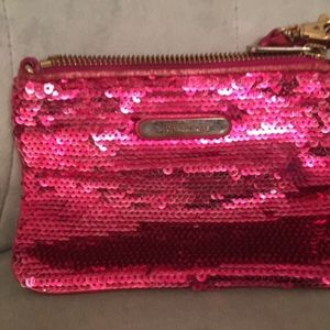 Pink sparkly Michael Kors makeup bag
